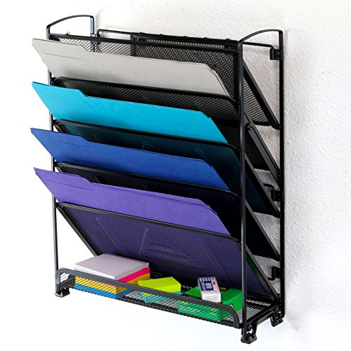 SimpleHouseware 6 Tier Wall Mount Document Letter Tray Organizer - Black