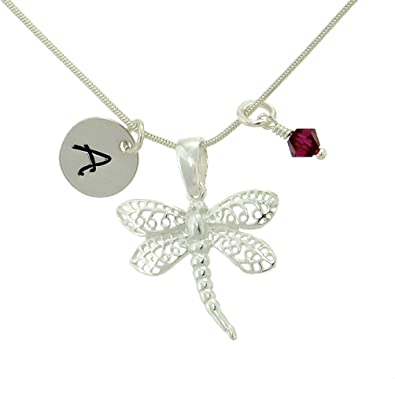 Amazon personalized dragonfly 925 sterling silver pendant amazon personalized dragonfly 925 sterling silver pendant custom hand stamped initial letter round tag crystal birthstone charm snake chain necklace aloadofball Images