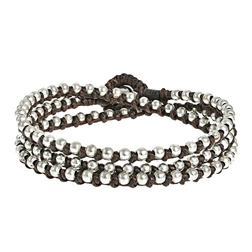- AeraVida Triple Wrap Mini Fashion Silver Beads Single Strand Tan Cotton Wax Rope Bracelet