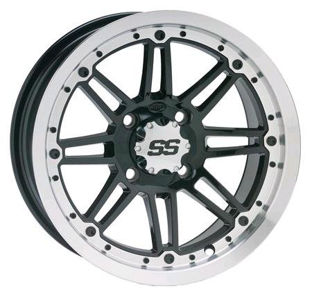 ITP SS216 Wheel - 12x7 - 5+2 Offset - 4/110 - Machined/Black , Bolt Pattern: 4/110, Rim Offset: 5+2, Wheel Rim Size: 12x7, Color: Machined, Position: Front/Rear 1228504404B