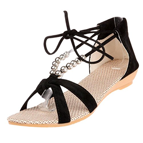 Lace Women's TAOFFEN Black Up Sandal Shoes Z5RnxAqwC