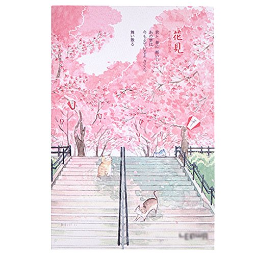 Japanese Style Cherry Blossom Printing Artist Painter Sketch Book Blank Paper Notebook Diary Book Ladder (Artists Sketch Diary)