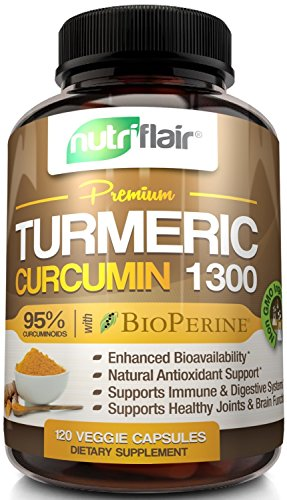 NutriFlair Premium Turmeric Curcumin Supplement (1300mg) with BioPerine Black Pepper (120 Capsules, 60 Day Supply) – Powerful Joint Pain Relief, Anti-Inflammatory Antioxidant – GMO and Allergen Free