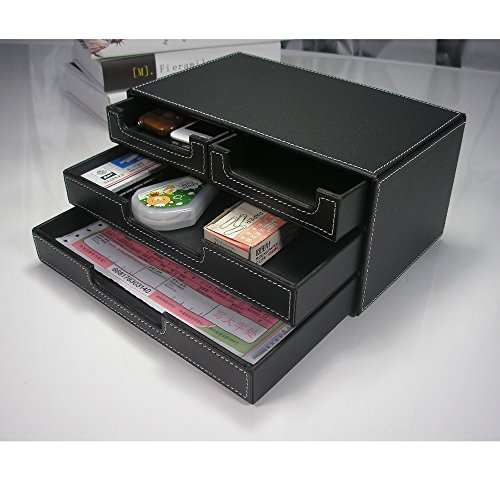 Price comparison product image KINGFOM™ 4 Litter Drawer Leather Office Desk Organizer, Multi-functional Stationery Box (Black with Drawer)