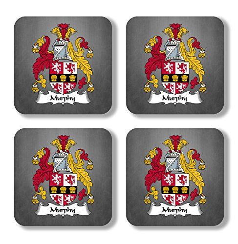 Murphy Coat of Arms/Family Crest Coaster Set, by Carpe Diem Designs – Made in the U.S.A. -