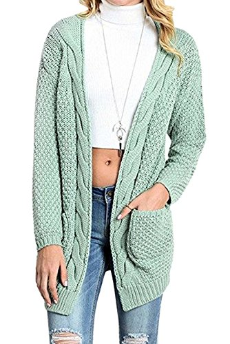 Cnfio Womens Long Sleeve Sweater Blouses Open Front Loose Knit Pullover Cardigan Outwear (S, Light (Chunky Pullover)