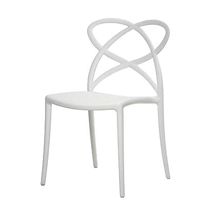 Sedie Polipropilene Design.Arredinitaly Set 4 Sedie Design Impilabili In Polipropilene Di Qualita Certificata Catas Bianco