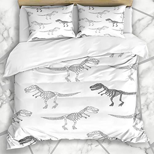 Ahawoso Duvet Cover Sets Queen/Full 90x90 Hand Gray Boy Doodle Dinosaur Skeleton Pattern Kids Wildlife Dino Bones Funny Anatomy Design Bright Microfiber Bedding with 2 Pillow Shams