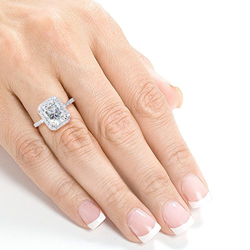 Radiant cut Moissanite Engagement Ring with Diamond 3 CTW 14k White Gold