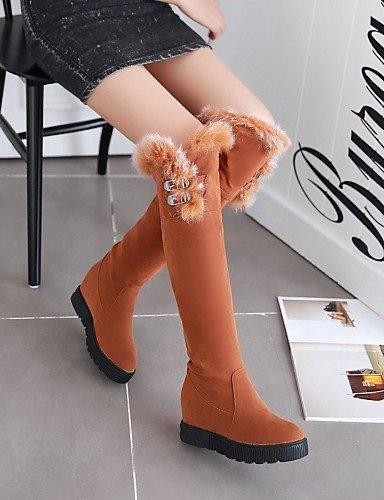 Casual A Botas Redonda Negro Beige Cn39 us5 Tacón Eu39 Cn35 Moda Vestido Punta us8 Amarillo Cuñas Beige Uk3 Mujer Uk6 5 Black Cuña Eu36 U 5 La Vellón Zapatos De Xzz 8ZqnOzz