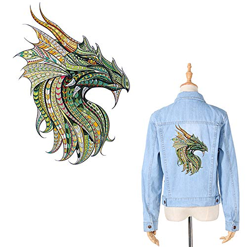 Dragon Iron On Patches for Clothes Decal Chinese Dragon Appliques Watercolor Folk-Custom Style Thermal Transfer Sticker Heat Transfer Vinyl Badges with Waterproof&Washable for DIY T-Shirt Jacket