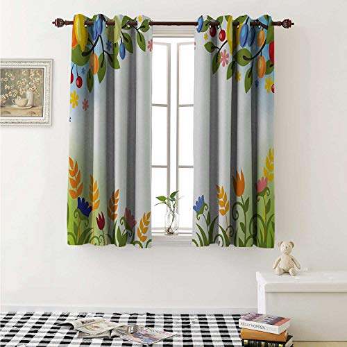 Harvest Blackout Draperies for Bedroom Fall Nature Inspired Festive Colorful Frame Fruits and Flowers Berries Swirl Leaves Curtains Kitchen Valance W72 x L63 Inch Multicolor