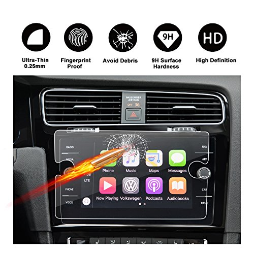 Customized for 2018 Volkswagen GTI Touch Screen Car Display Navigation Screen Protector, R RUIYA HD Clear TEMPERED GLASS Protective Film (8-Inch) by R RUIYA