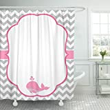 Pink and Gray Chevron Shower Curtain TOMPOP Shower Curtain Pink Chevron Baby Girl Gray Whale Grey Little Pattern Waterproof Polyester Fabric 78 x 72 Inches Set with Hooks
