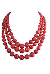 Jane Stone 3-Layer Pearl Necklace Bubble Necklace Illusion Necklace Wedding Bridal Jewelry(Fn0659*)