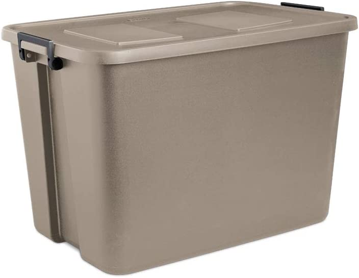 STERILITE 32-Gallon Storage Latch Tote with Stackable Lid, Hazelwood (4 Pack)