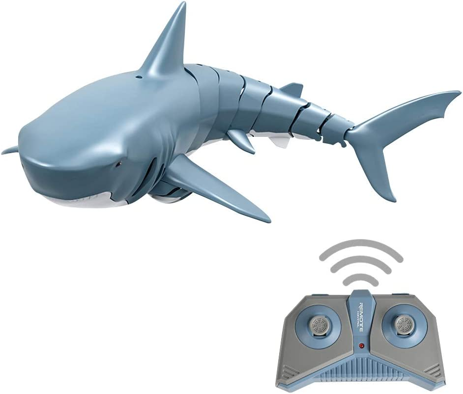 GoolRC Mini RC Shark for Kids, 2.4Ghz Remote Control Toy Boat Electric Fish Toy Underwater for Pool, Home Bathtub, Water Park(Blue)