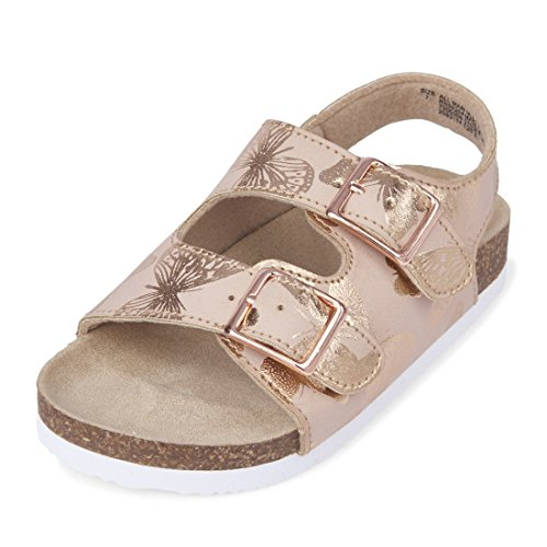 Large Product Image of The Children's Place Girls' TG Btrfly Luna Flat Sandal, Rose Gold, TDDLR 5 Medium US Infant