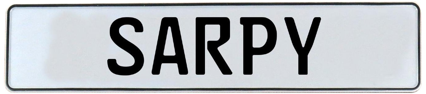 Vintage Parts 748993 White Stamped Aluminum Street Sign Mancave Wall Art Sarpy