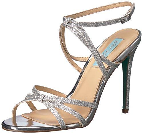 Blue by Betsey Johnson Women's SB-MYLA Heeled Sandal, Silver Glitter, 8.5 M US
