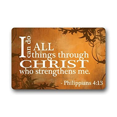Custom Gift Clean Machine Doormat I Can Do All Things Through Christ Who Strengthens Me Philippians 4:13 Bible Verse door mat