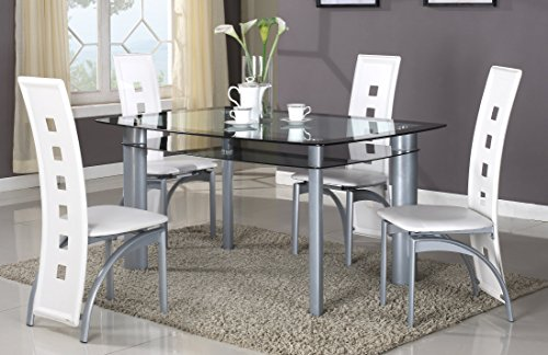 GTU Furniture 5Pc Glass Dining Room Table Set, 1 Table and 4 Chairs (Black Tinted Edge, White) Review