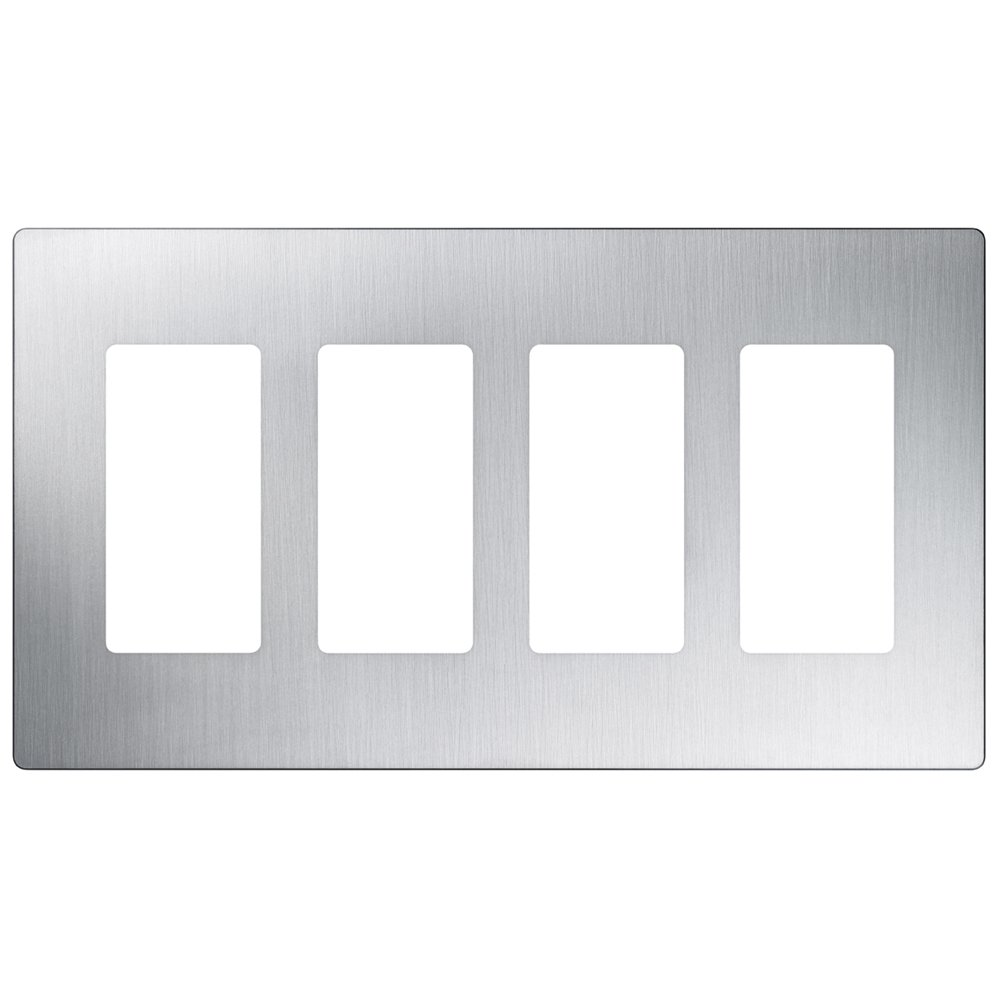 Lutron CW-4-SS 4-Gang Claro Wall Plate, Stainless Steel