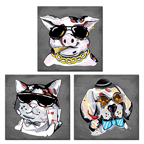 Visual Art Decor Funny Animals Digital Painting Giclee Canvas Prints Drinking Dog Smoking Pig Playing Poker Dog Picture Poster Framed and Stretched for Wall Decoration