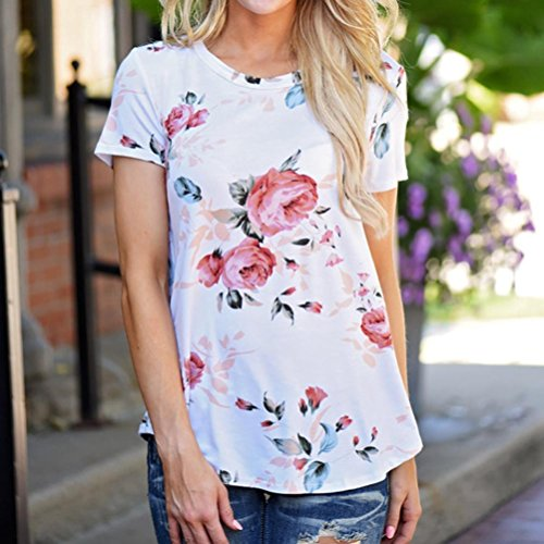Kshion-Women-Polyester-Short-Sleeve-Flower-Printed-Blouse-Casual-Tops-T-Shirt