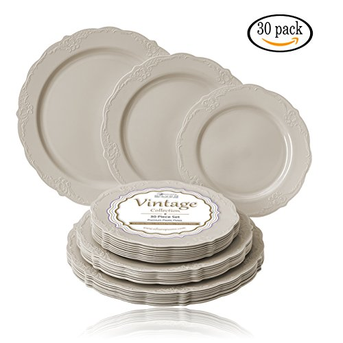 (PARTY DISPOSABLE 30 PC DINNERWARE SET | 10 Dinner Plates | 10 Salad Plates | 10 Dessert Plates | Heavyweight Plastic Dishes | Fine China Look | Upscale Wedding and Dining (Vintage Collection - Cream))