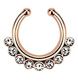 1pc Non-Piercing Line CZ Gem Septum Hanger Clip-On Fake Nose Ring Body Jewelry (Rose Gold with Clear Gems)