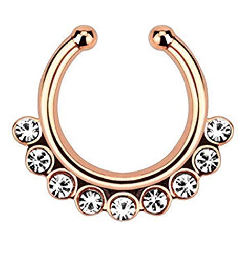 1pc Non-Piercing Line CZ Gem Septum Hanger Clip-On Fake Nose Ring Body Jewelry (Rose Gold with Clear Gems) by Lobal Domination (Image #2)