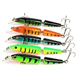 "Hengjia Pack of 5 Multi Jointed Minnow Fishing Lure 2 Sections Bass Swimbait for Pike walleye & Trout 10.5CM/4.13""/9.6G"