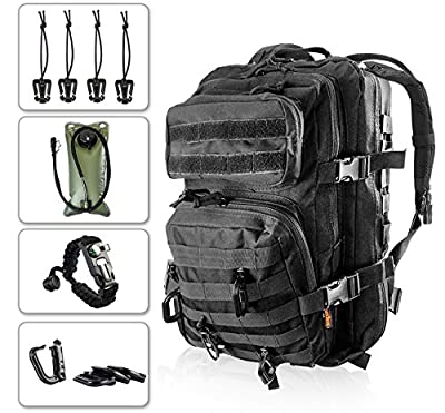 Kragzmen Tactical Backpack 3-Day Assault Pack w/2L Hydration Bladder & Para Cord Survival Bracelet - 45 Liter Military Rucksack (Spec Ops Black) w/Molle Load Bearing Web + D-Rings & Dominators from Kragzmen