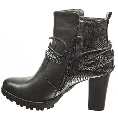 Angkorly - damen Schuhe Stiefeletten - Low boots - Plateauschuhe - Schlangenhaut - String Tanga Blockabsatz high heel 8 CM - Schwarz
