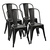 Furmax Metal Dining Chairs Distressed Black Golden Indoor/Outdoor Use Stackable Dining Bistro Cafe Side Chairs(Set of 4) For Sale