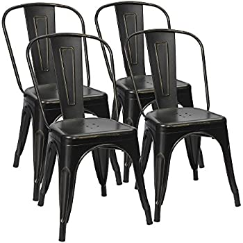 distressed metal furniture. Furmax Metal Dining Chairs Distressed Black Golden Indoor/Outdoor Use  Stackable Bistro Cafe Side Distressed Metal Furniture I