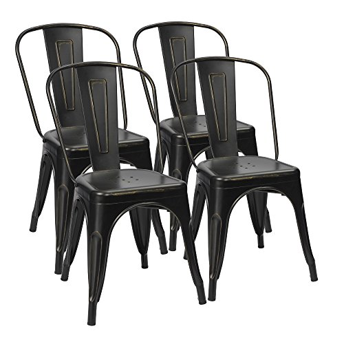 Furmax Metal Dining Chairs Distressed Black Golden Indoor/Outdoor Use Stackable Dining Bistro Cafe Side Chairs(Set of - Black Distressed