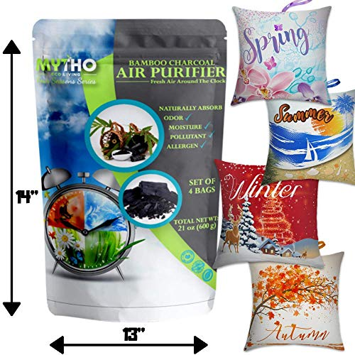 4-Pack Bamboo Charcoal Air Purifying Bag, Activated Charcoal Odor Eliminators for Dog & Cat Litter, Natural Air Freshener Bags, Car Air Purifier, Shoe Deodorizer, Closet Freshener, Home Air Freshener
