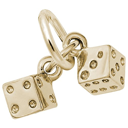 Dice Charm In 14k Yellow Gold, Charms for Bracelets and Necklaces