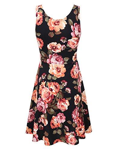 Flare Dress with Awdsd0750 Women flowercoral Plus for Midi Doublju Dress Skater Size Party Tank qtCYSg