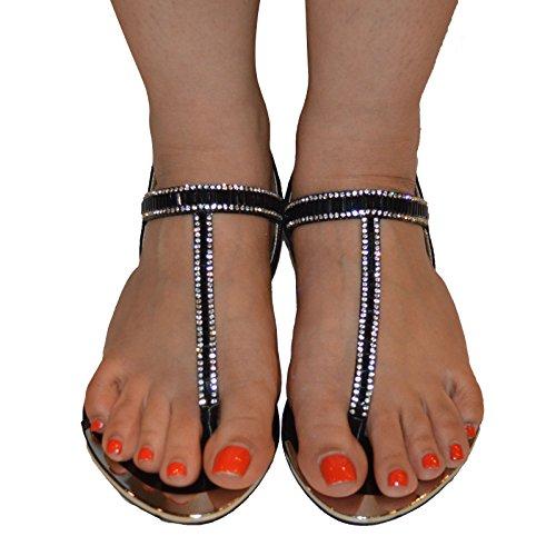 New Ladies Womens plana Slingback Diamante sandalias de verano. Negro - negro