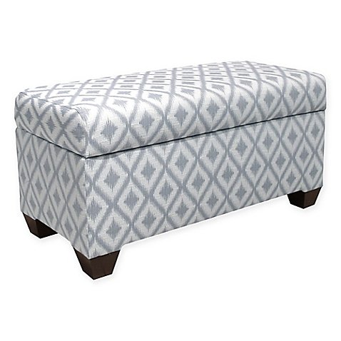 Skyline Furniture Aiden Storage Bench in Pewter | Wood, linen, and foam construction (Macy's Patio Furniture Clearance)