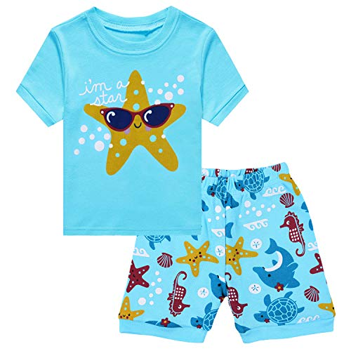 Little Hand Toddler Summer Clothes Girls Beach Outfits Holiday Casual Cotton T Shirt & Short Sleeve for Size 4 5 ()