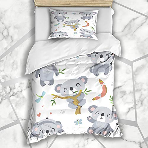 (Ahawoso Duvet Cover Sets Twin 68X86 Forest Bear Koala Nature Cute Zoo Baby Character Boomerang Aboriginal Design Clip Microfiber Bedding with 1 Pillow Shams)