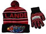 Boys Skylander Giants Blue Striped Red Knit Hat and Glove Set [4013]