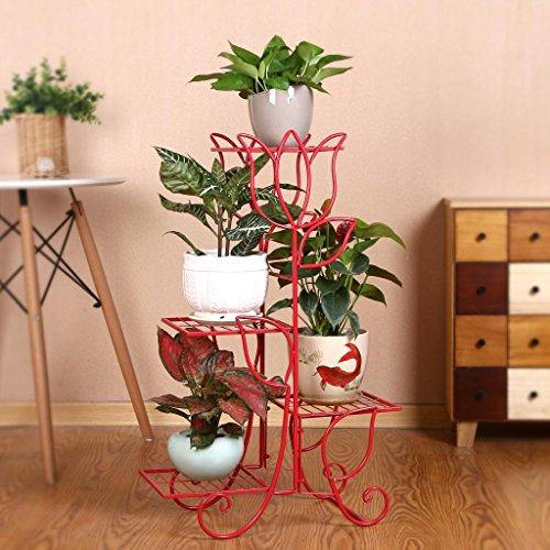 - HJAB Tulip Flower Stand Four-Story Iron Art Green Sage Garland Ground Living Room Indoor Floor (Color : Red)