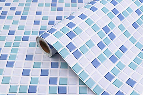 Blue Mosaic Contact Paper Self-Adhesive Removable Peel and Stick Wallpaper Matte 3D Effect Waterproof Kitchen Bathroom Shelf Paper Countertop Wallpaper Mosaic Paper Blue Contact Paper 16