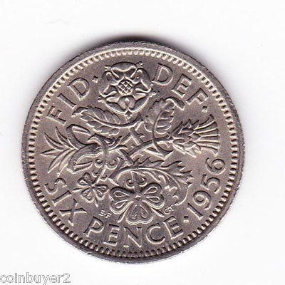 (Rare World Coin 1956 Great Britain 6 Pence)