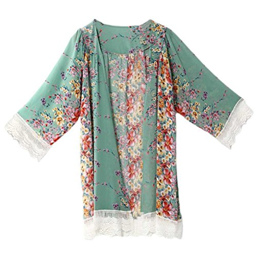 Han Shi Chiffon Shawl, Women Printed Kimono Cardigan Sexy Lace Hem Tops Cover Up Blouse (XL, Green) (Hem Peasant Top)